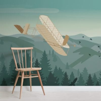 Wrights Brothers Vintage Plane Wallpaper Mural