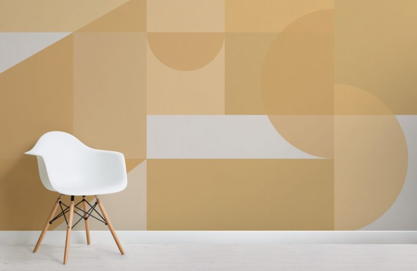 Yellow Geometric Shapes Modern Bauhaus Wallpaper Mural