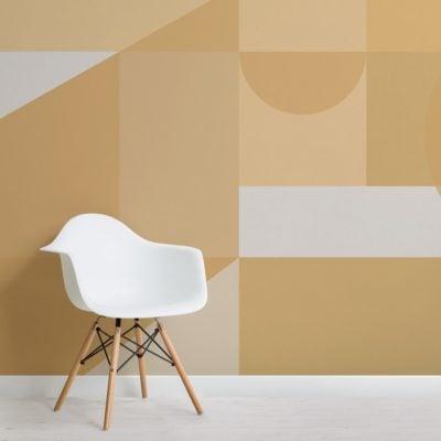 Yellow Geometric Shapes Modern Bauhaus Wallpaper Mural