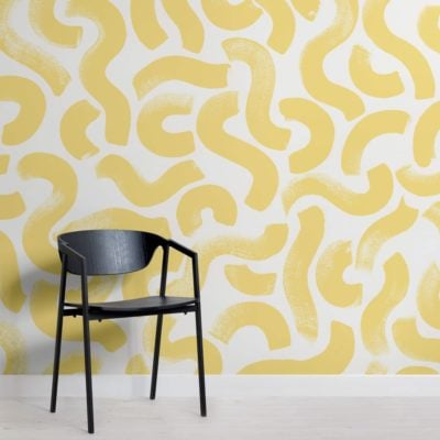 Yellow Paint Brush Strokes Abstract Wallpaper Mural