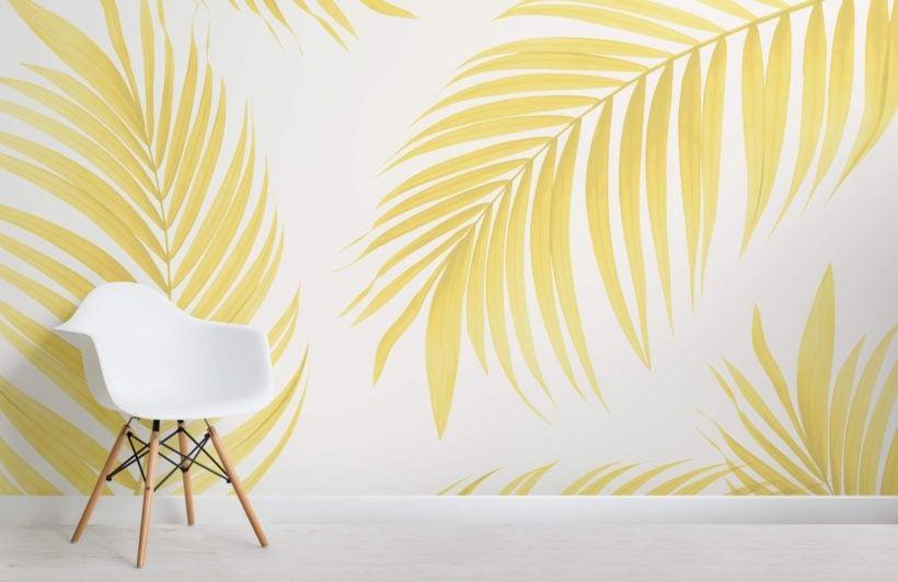 Yellow Tropical Palm Wallpaper Mural