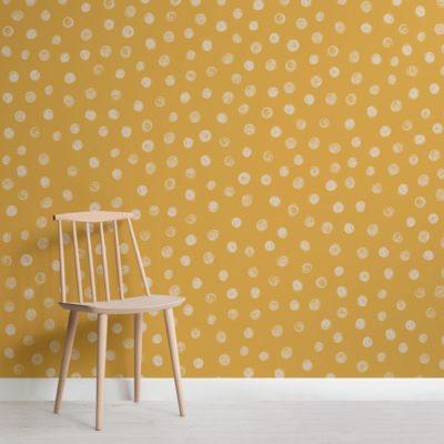 Yellow Watercolour Polka Dot Wallpaper Mural