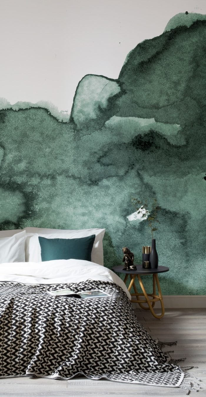 abstract green watercolour wallpaper
