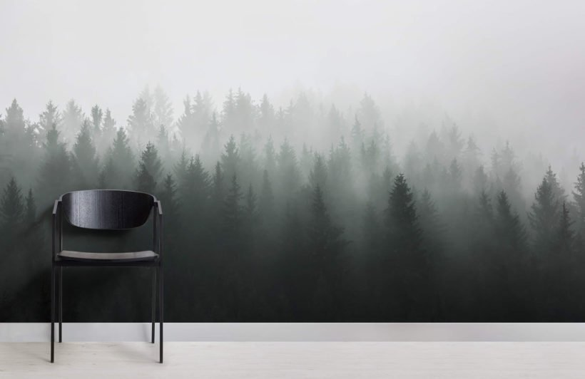 Deep Green Ombre Forest Wall Mural - Chair