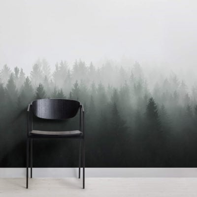 Deep Green Ombre Forest Wall Mural - Square