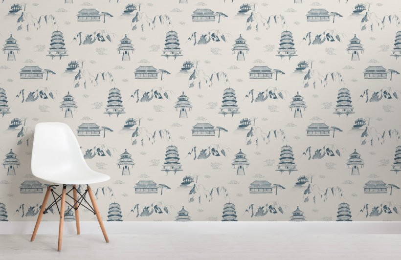 ancient chinese blue illustrations pattern wallpaper mural