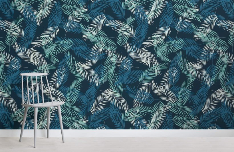 areca palm leaves room wall mural