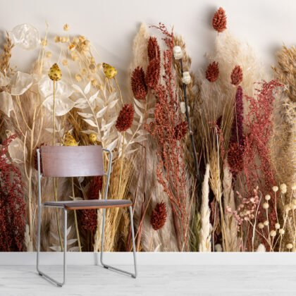 Autumnal Dried Flowers Wallpaper Mural Image