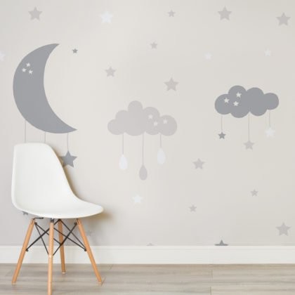 Baby Clouds & Moon Wallpaper Mural Image