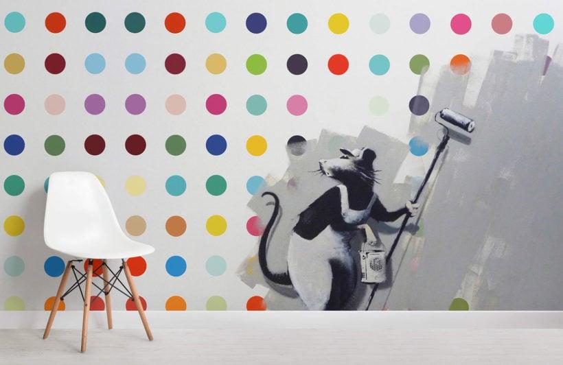 banksy-rat-dots-graffiti-room-wall-murals
