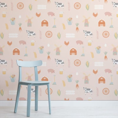 barnyard farm animal kids pattern wallpaper mural