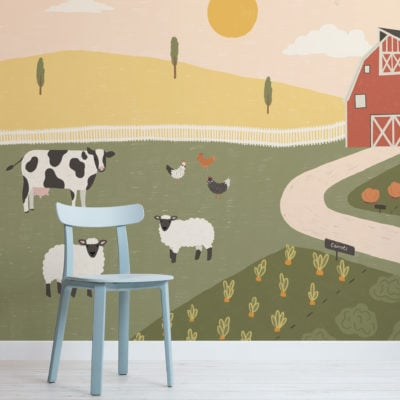 barnyard farm animal scene kids wallpaper mural