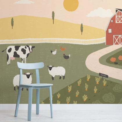Barnyard Farm Animal Scene Kids Wallpaper Mural Image