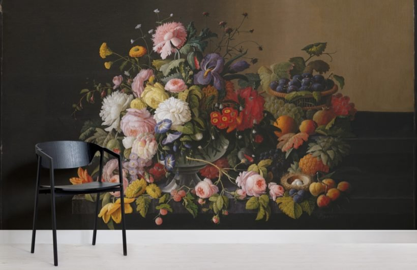 basket of flowers and fruit by severin roesen wallpaper mural