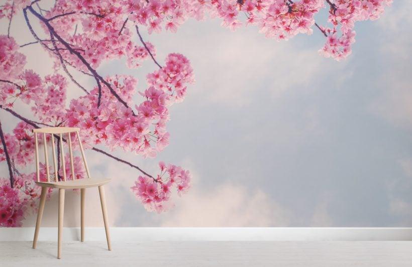 beautiful cherry blossom branch wallpaper mural