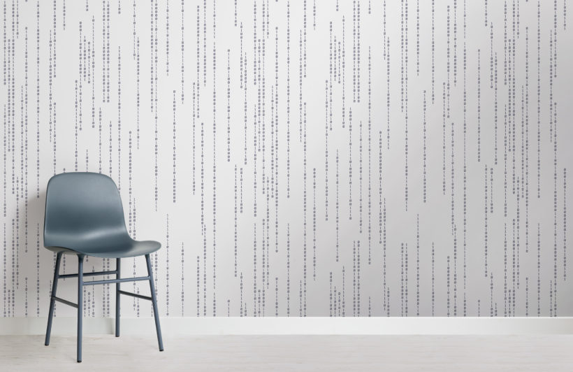 binary code black & white stem pattern wallpaper mural