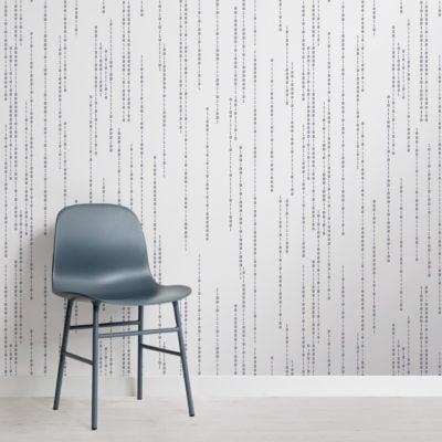 binary code black & white stem pattern wallpaper mural