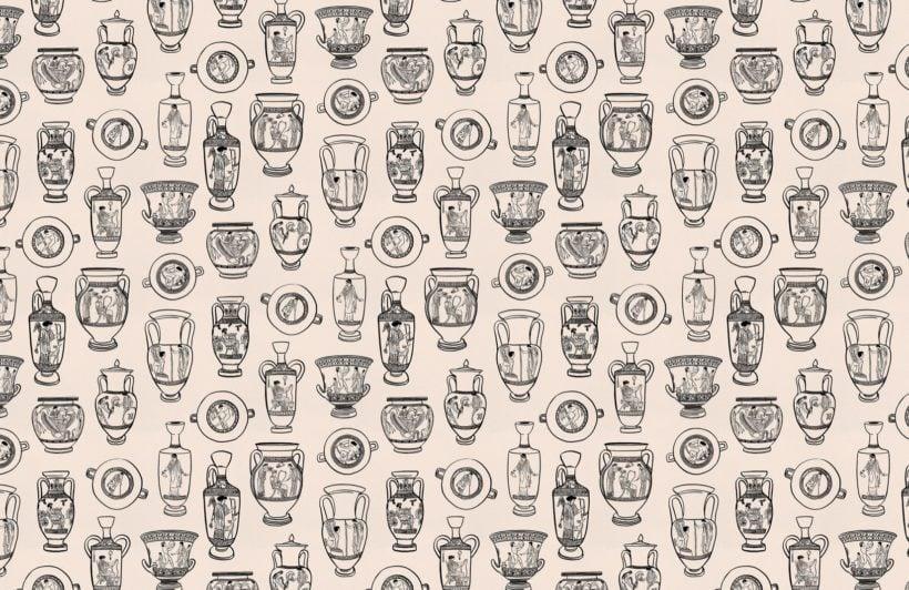 black ancient greek pottery pattern wallpaper mural