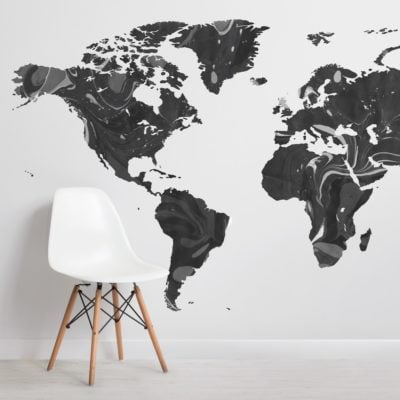 black and gray marble map wallpaper mural