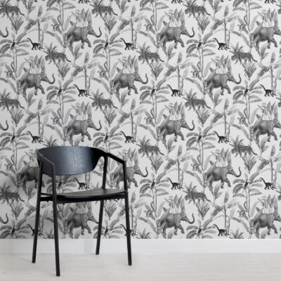 black and grey illustrated jungle animal repeat pattern wallpaper
