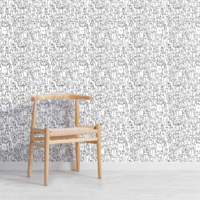black-and-white-abstract-face-line-drawing-repeat-pattern-wallpaper