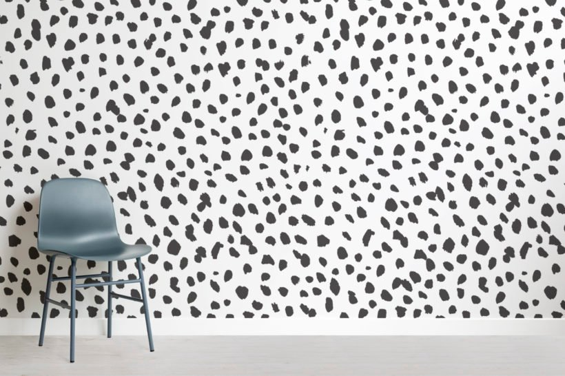 black and white dalmation speckle wallpaper mural swatch