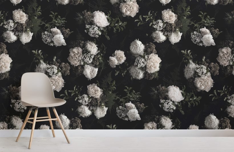 black and white dark moody floral pattern wallpaper mural