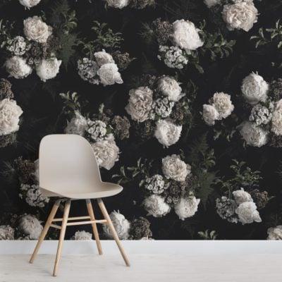 black and white dark moody floral pattern wallpaper mural