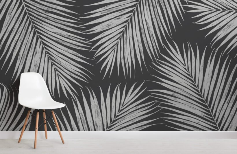 black and white illustrated tropical palm leaf wallpaper mural