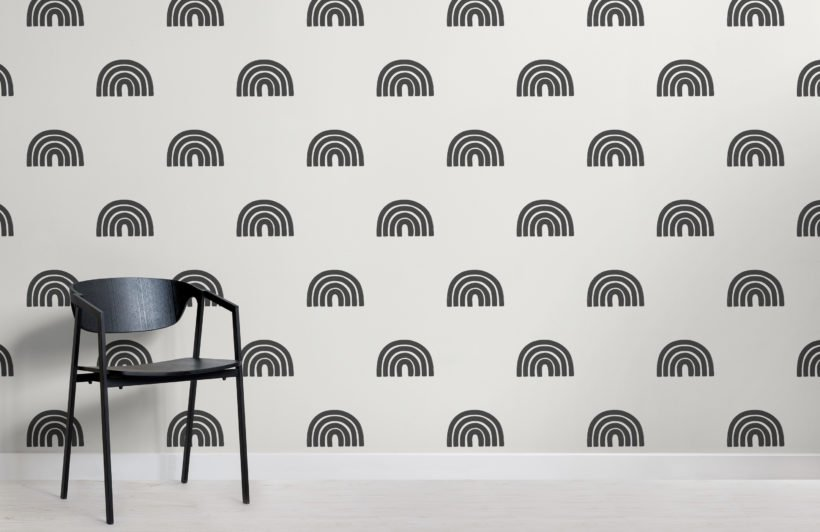 black and white modern painted rainbow repeat pattern wallpaper