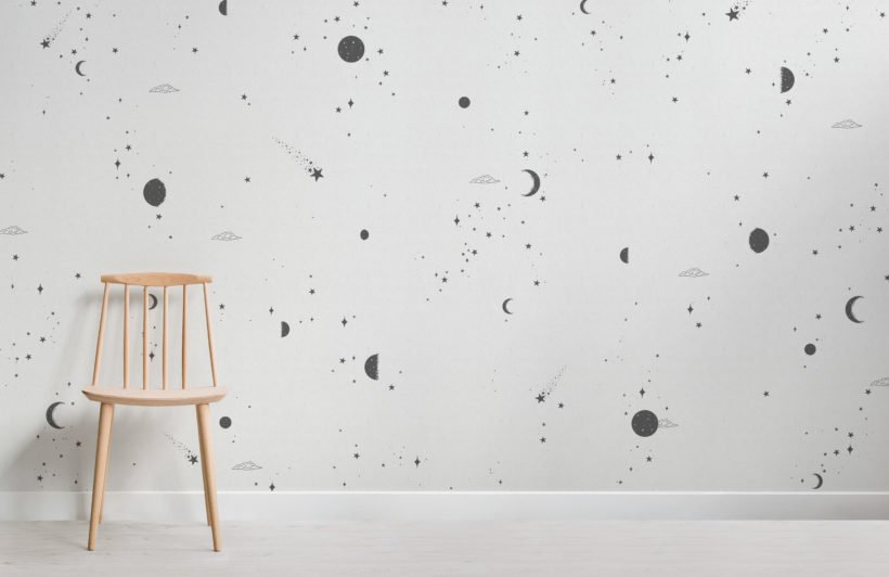 black and white moon & stars wallpaper mural
