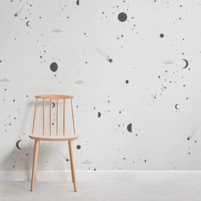 black and white moon & stars wallpaper mural