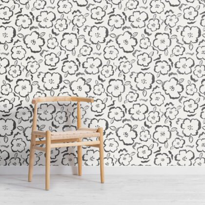 Black and White Paint Abstract Floral Repeat Pattern Wallpaper Image