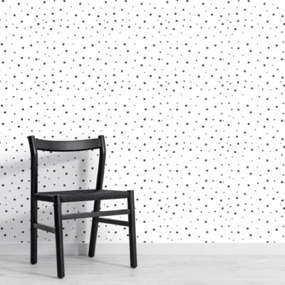 black and white small star repeat pattern wallpaper