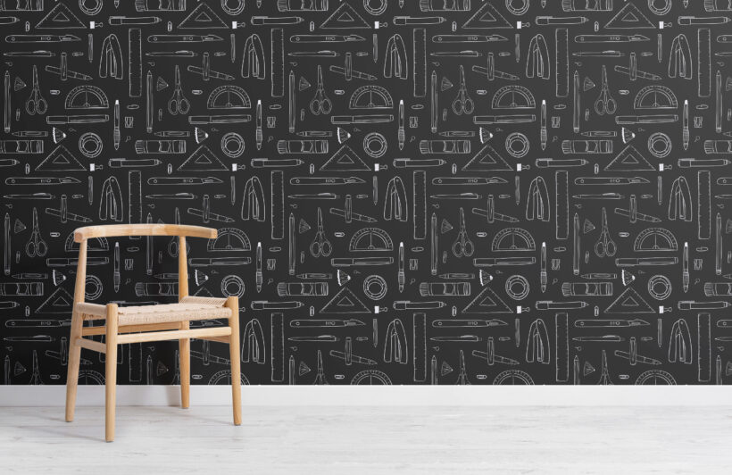 black-and-white-stationery-repeat-pattern-wallpaper