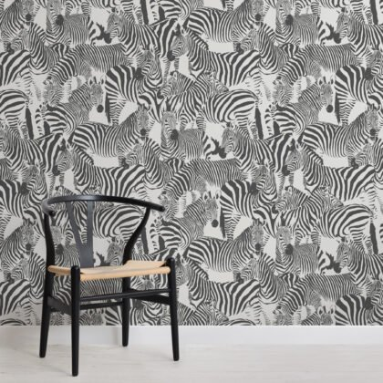 Black and White Zebra Animal Modern Repeat Pattern Wallpaper Image
