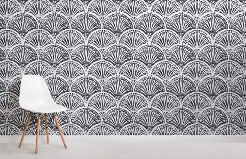 black art deco fan pattern wallpaper mural