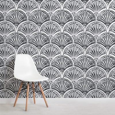 black art deco fan pattern wallpaper mural