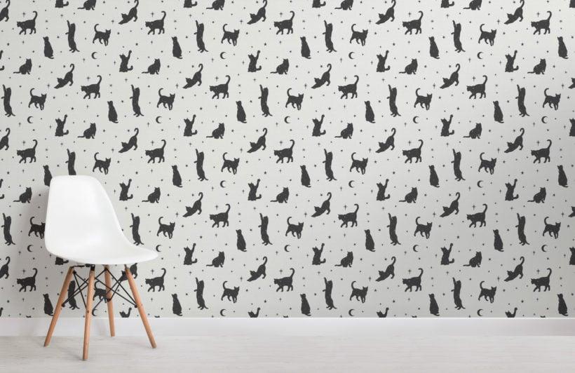 black cat moon & stars pattern wallpaper mural
