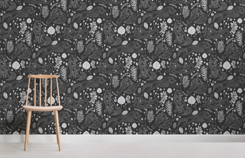 black folk fox repeat pattern wallpaper mural