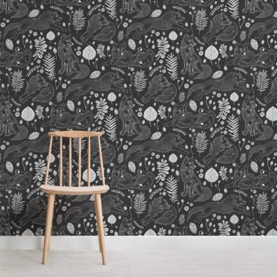 black folk fox repeat pattern wallpaper mural