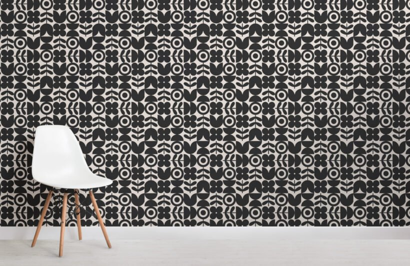 black geometric retro flower repeat pattern wallpaper