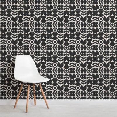 black geometric retro flower repeat pattern wallpaper