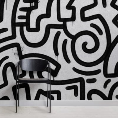 black & grey graffiti concrete effect wallpaper mural