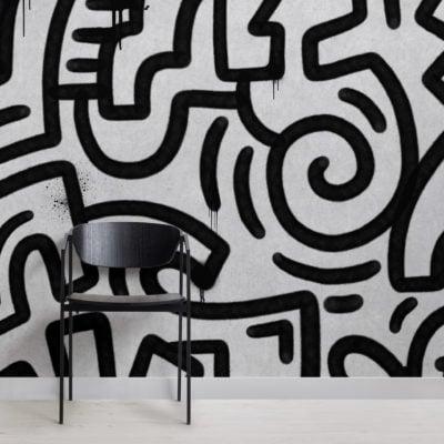 black & grey graffiti concrete effect wallpaper mural
