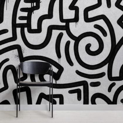 Black & Grey Graffiti Concrete Effect Wallpaper Mural Image