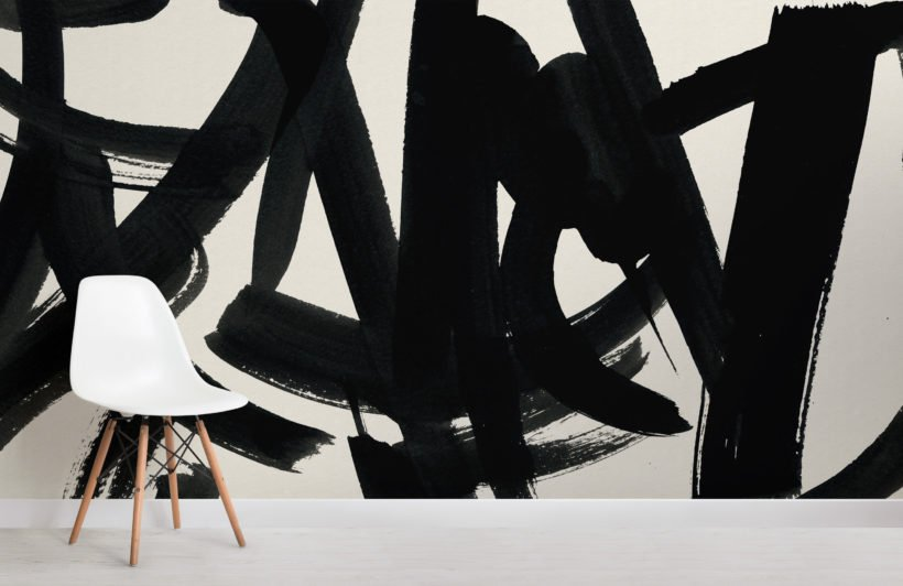black japanese calligraphy abstract wallpaper mural
