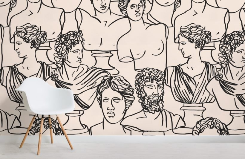 black line drawing greek god statue pattern wallpaper mural