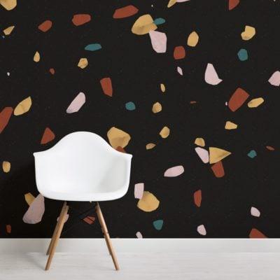 black marble stone terrazzo print wallpaper mural
