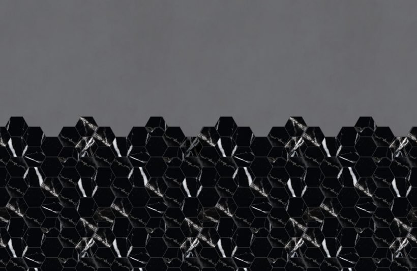 black marble tile effect geometric wallpaper mural